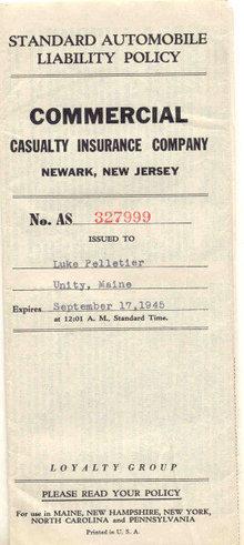 NJ Automobile Policy 1945
