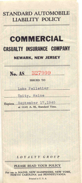 NJ Automobile Policy 1945