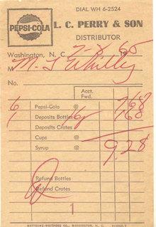 Pepsi Cola Receipt 1966
