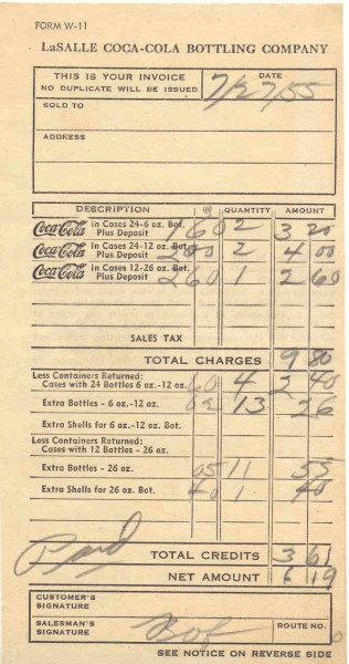 La Salle Coca Cola Soda Receipt 1955