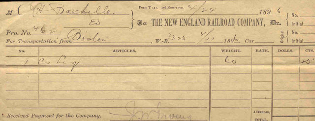 New England Railroad receipt