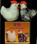 Hens Salt Pepper Shakers in Box