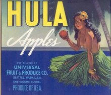 Hula Girl Crate Label