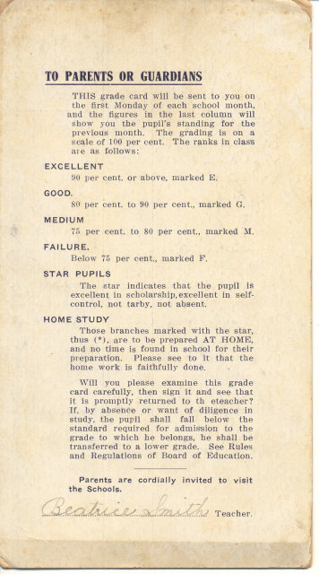 Cantrell Report Card 1911