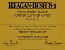 Regan Bush Voter Certificate