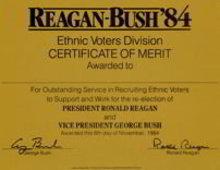 Regan Bush Voter Certificate