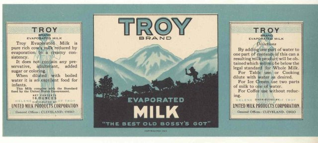 Troy Evaporated Milk Label