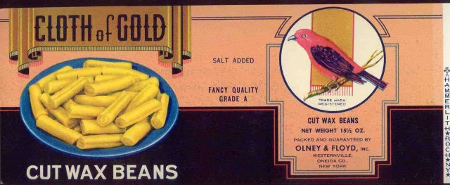 Cloth of Gold Wax Bean Label