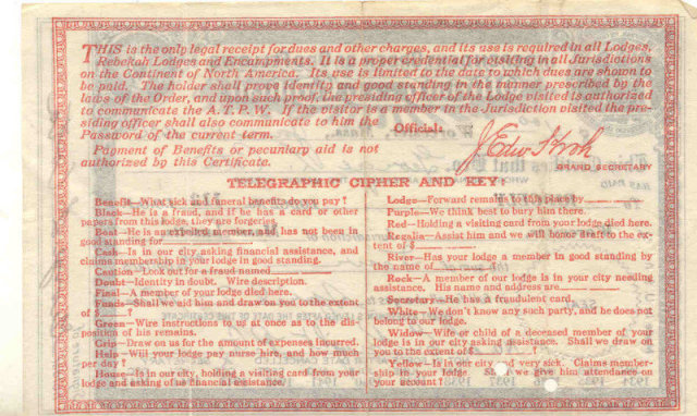 Independent Oddfellows Certificate