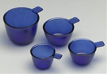 Glass Measure Cups in Cobalt Blue