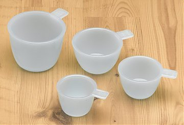 Glass Measure Cups in Light Blue