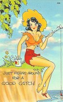 Fishing Pinup Comical Postcards
