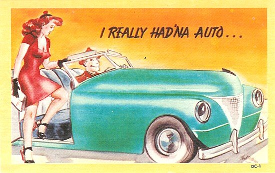 Automobile Pinup Comical Postcards