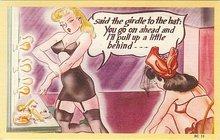 Girdle Pinup Comical Postcards