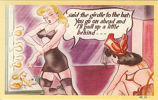 Girdle Pinup Comical Postcards