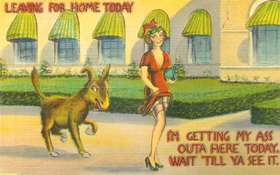 Leaving for Home Linen Postcards