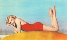 Bathing Beauty Linen Postcards