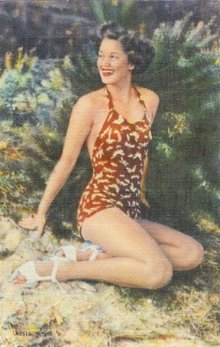 Pattern Bathing Beauty Linen Postcards