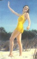Yellow Bathing Suit Pinup Linen Postcards