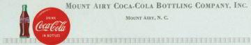 Mt. Airy Coca Cola Soda Letterhead Sheet