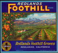 Redlands Foothill Orange Crate Label