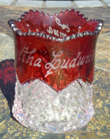 Ruby Flash Fluted Compote 1907