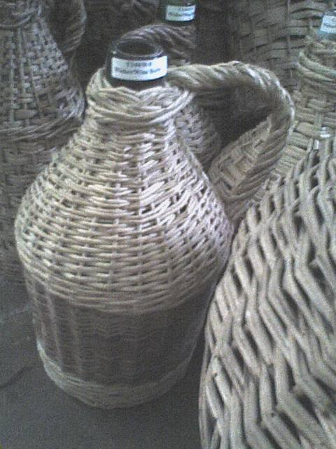 Wine Jug in Woven Basket