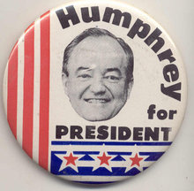 Hubert Humprehy Pinback Pin