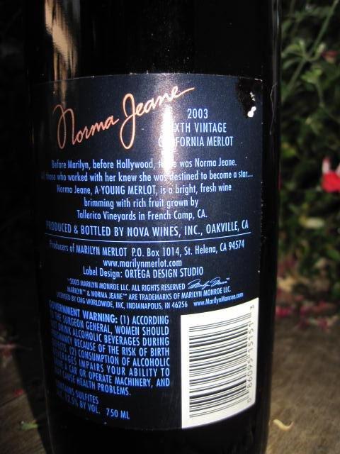 2003 Marilyn Monroe Red Wine Bottle Unopened