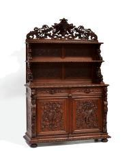 Hand Carved French Antique Hunt Sideboard Cabinet