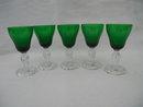 5 Green Fostoria Colonial Dame 1 oz. Cordials
