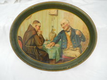 Early Portrait Serving Tray A Showdown Monk Card Playing