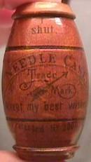 Early German Asbro Wood Barrel Needle Case