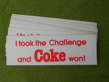 Coca Cola Challenge Bumper Stickers 1980's