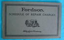 Fordson Tractor Schedule of Repair Charges
