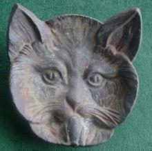 Early Cast Iron Cat Face Ashtray