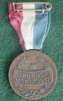 1930's Queen Elizabeth/King George Ribbon Medal