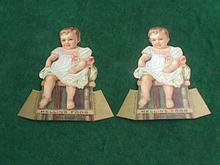(2) Nice Old Mellins Food Fold Up Trade Cards