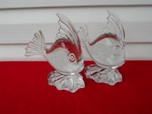 Pr. of Viking Glass Angelfish Bookend