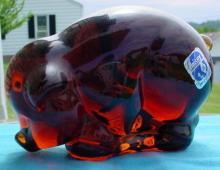 Imperial Glass Animal Amber Mother Pig