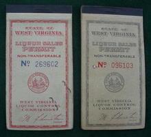 Pr. of West Virginia Liquor Sales Permit Ticket Books
