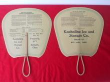 Pr. Old Koehnline Ice & Storage Co. Bellaire Ohio Hand Fans
