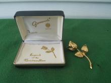 Giovanni Legend of Christmas Rose Brooch w/Box