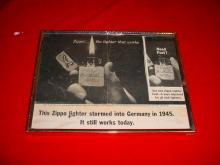 1940's Framed Zippo Lighter Ad WW2
