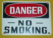 DANGER--NO SMOKING ENAMELED SIGN