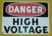DANGER--HIGH VOLTAGE ENAMELED SIGN