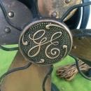 Lg. GE Fan Brass Blade Oscilating Fan 3 Speed