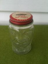 Nash's Mustard Lucky Joe Figural Glass Bank