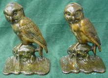 Pr. of Early Owl Cast Iron Bookends