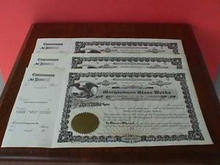 Set of 3 Morgantown Glass Works Stock Certificates